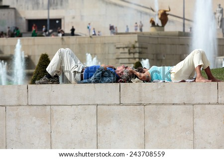 Paris, France - September 9, 2014: Fountains at Tracadero. Trocadero is area of Paris on banks of Seine not far from famous Eiffel Tower. On a hilltop in 1937 built Palais de Chaillot. Paris, - stock photo