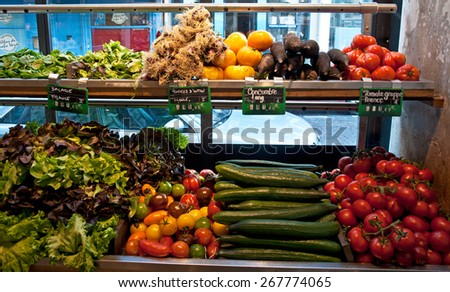 PARIS, FRANCE - 9 SEPTEMBER 2014: Grocery in Paris, France on 9 September 2014.