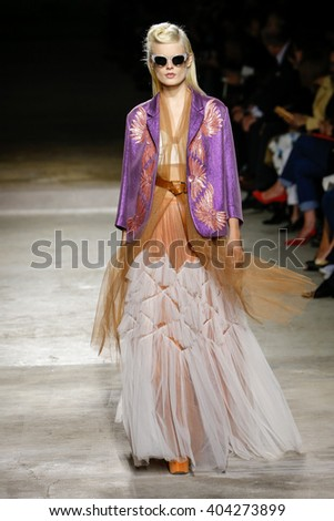 PARIS, FRANCE - SEPTEMBER 30: Hanne Gaby Odiele walks the runway during the Dries Van Noten show as part of the Paris Fashion Week Womenswear Spring/Summer 2016 on September 30, 2015 in Paris, France - stock photo