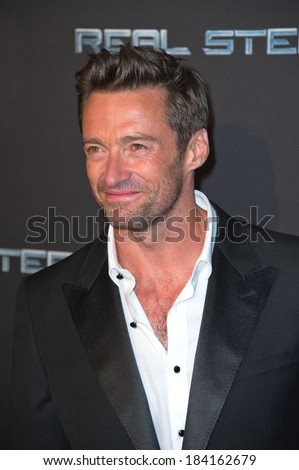 "PARIS, FRANCE - SEPTEMBER 6, 2011 - Hugh Jackman at French premiere of ""Real Steel"" at Le Grand Rex Theater"