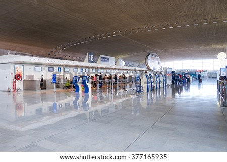 PARIS, FRANCE - SEPTEMBER 10, 2014: interior of Charles de Gaulle Airport. Paris Charles de Gaulle Airport, also known as Roissy Airport, is one of the world's principal aviation centres. - stock photo