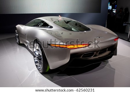 PARIS, FRANCE - SEPTEMBER 30:Jaguar C-X75 at  Paris Motor Show on September 30, 2010 in Paris - stock photo