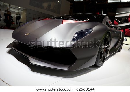 PARIS, FRANCE - SEPTEMBER 30: Lamborghini Sesto Elemento Concept at Paris Motor Show on September 30, 2010 in Paris - stock photo