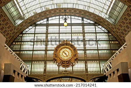 PARIS, FRANCE - SEPTEMBER 7, 2014: Musee d'Orsay. The museum was opened in 1986, the museum houses the largest collection of impressionist and post-impressionist masterpieces in the world.  - stock photo