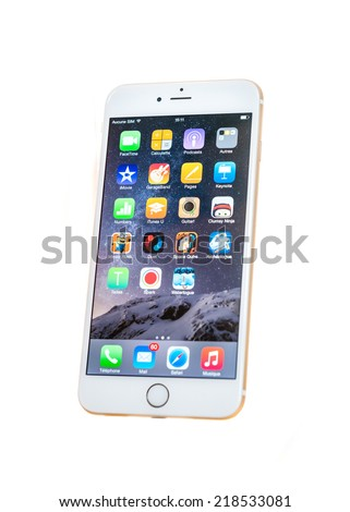 PARIS, FRANCE - SEPTEMBER 20, 2014 New Apple iPhone 6 Plus isolated with homescreen apps on white background. New Apple iPhone tends to become one of the most popular smart phones in the world in 2014 - stock photo