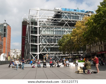 PARIS, FRANCE - SEPTEMBER 11, 2014: Paris -  Centre Georges Pompidou was designed in style of high-tech architecture. It houses library, National Art Modern museum and IRCAM. - stock photo