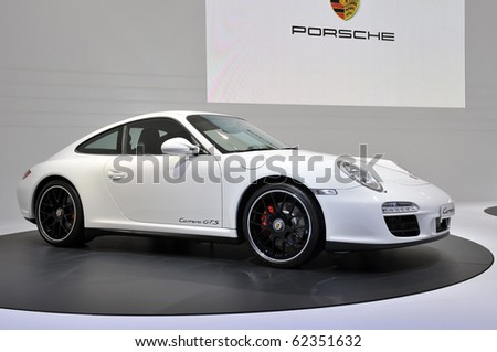 PARIS, FRANCE - SEPTEMBER 30: Paris Motor Show on September 30, 2010, at the Paris Expo - Porte de Versailles showing the new Porsche 997 GTS