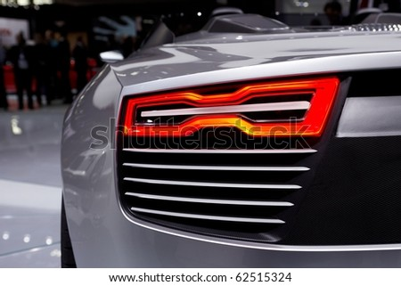 PARIS, FRANCE - SEPTEMBER 30: Paris Motor Show on September 30, 2010, Audi e-tron Spyder, rear light detail - stock photo
