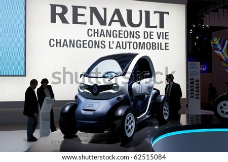 PARIS, FRANCE - SEPTEMBER 30: Paris Motor Show on September 30, 2010 in Paris, Renault Z.E. Concept, front view - stock photo