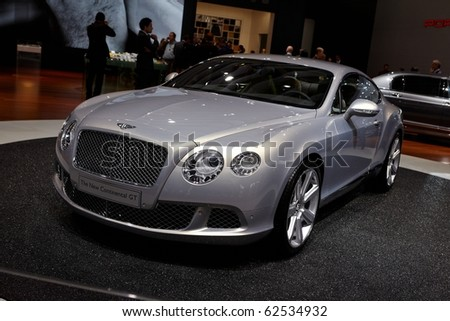 PARIS, FRANCE - SEPTEMBER 30: Paris Motor Show on September 30, 2010 in Paris, showing Bentley Continental GT, front view