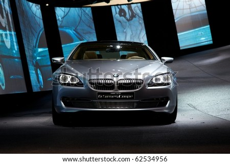PARIS, FRANCE - SEPTEMBER 30: Paris Motor Show on September 30, 2010 in Paris, showing BMW Concept 6-series Coupe, front view - stock photo