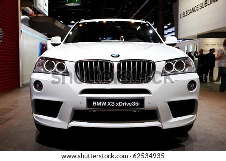 PARIS, FRANCE - SEPTEMBER 30: Paris Motor Show on September 30, 2010 in Paris, showing BMW X3, front view - stock photo