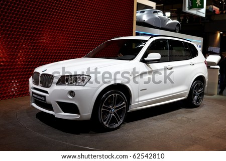 PARIS, FRANCE - SEPTEMBER 30: Paris Motor Show on September 30, 2010 in Paris, showing BMW X3, front view - stock photo