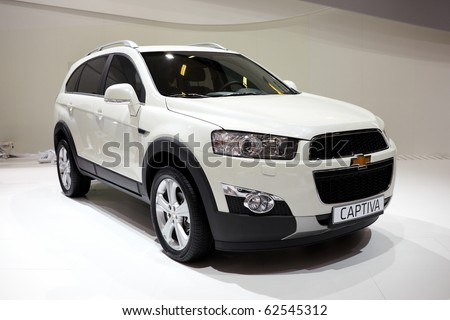 PARIS, FRANCE - SEPTEMBER 30: Paris Motor Show on September 30, 2010 in Paris, showing Chevrolet Captiva, front view - stock photo