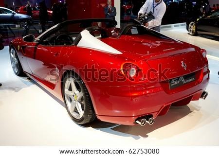 PARIS, FRANCE - SEPTEMBER 30: Paris Motor Show on September 30, 2010 in Paris, showing Ferrari SA APERTA, rear view - stock photo