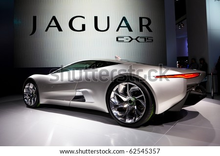 PARIS, FRANCE - SEPTEMBER 30: Paris Motor Show on September 30, 2010 in Paris, showing Jaguar C-X75, rear view - stock photo