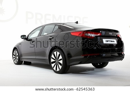 PARIS, FRANCE - SEPTEMBER 30: Paris Motor Show on September 30, 2010 in Paris, showing Kia Optima, rear view - stock photo