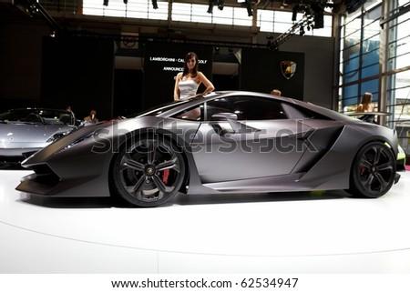 PARIS, FRANCE ? SEPTEMBER 30: Paris Motor Show on September 30, 2010 in Paris, showing Lamborghini Sesto Elemento Concept, side view - stock photo