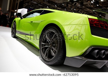 PARIS, FRANCE - SEPTEMBER 30: Paris Motor Show on September 30, 2010 in Paris, showing Lamborghini Gallardo LP560-4 Superleggera, rear closeup view - stock photo