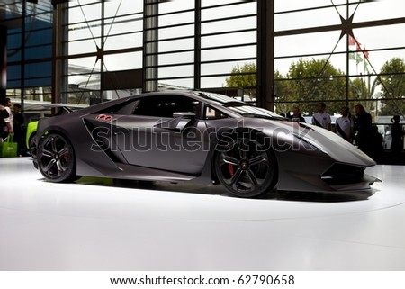 PARIS, FRANCE - SEPTEMBER 30: Paris Motor Show on September 30, 2010 in Paris, showing Lamborghini Sesto Elemento Concept, side view - stock photo