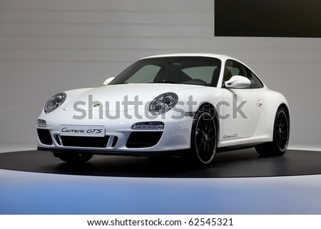 PARIS, FRANCE - SEPTEMBER 30: Paris Motor Show on September 30, 2010 in Paris, showing Porsche 911 Carrera GTS, front view