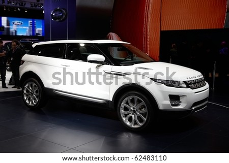 PARIS, FRANCE - SEPTEMBER 30: Paris Motor Show on September 30, 2010 in Paris, showing Range Rover Evoque, front view - stock photo