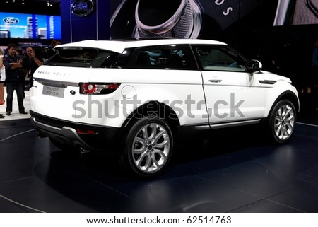 PARIS, FRANCE - SEPTEMBER 30: Paris Motor Show on September 30, 2010 in Paris, showing Range Rover Evoque, rear view