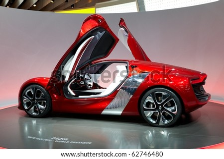 PARIS, FRANCE - SEPTEMBER 30: Paris Motor Show on September 30, 2010 in Paris, showing Renault Dezir, rear view - stock photo