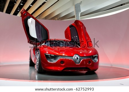 PARIS, FRANCE - SEPTEMBER 30: Paris Motor Show on September 30, 2010 in Paris, showing Renault Dezir, front view - stock photo