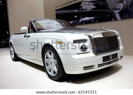 PARIS, FRANCE - SEPTEMBER 30: Paris Motor Show on September 30, 2010 in Paris, showing Rolls Royce Phantom Drophead Coupe, front view - stock photo