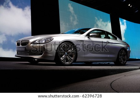 PARIS, FRANCE - SEPTEMBER 30: Paris Motor Show on September 30, 2010, showing BMW Concept 6-series Coupe, front view in Paris. - stock photo