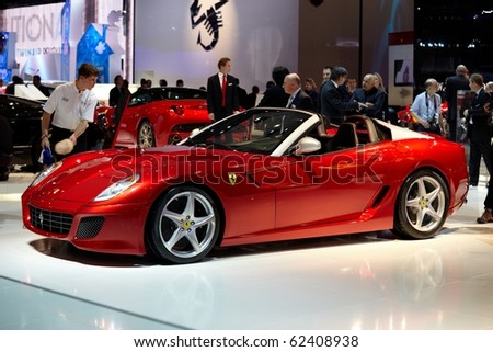 PARIS, FRANCE - SEPTEMBER 30: Paris Motor Show on September 30, 2010, showing Ferrari SA APERTA, side view in Paris. - stock photo