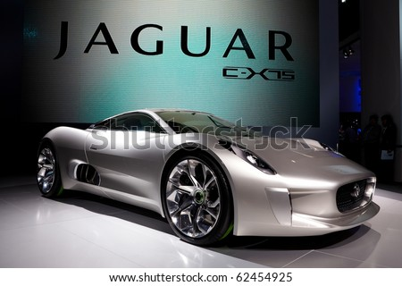 PARIS, FRANCE - SEPTEMBER 30: Paris Motor Show on September 30, 2010, showing Jaguar C-X75, front view - stock photo