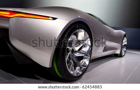 PARIS, FRANCE - SEPTEMBER 30: Paris Motor Show on September 30, 2010, showing Jaguar C-X75, rear-side closeup view - stock photo