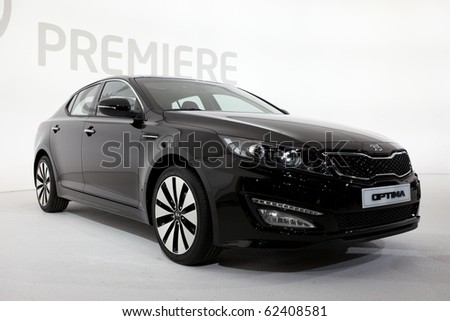 PARIS, FRANCE - SEPTEMBER 30: Paris Motor Show on September 30, 2010, showing Kia Optima, front view in Paris. - stock photo