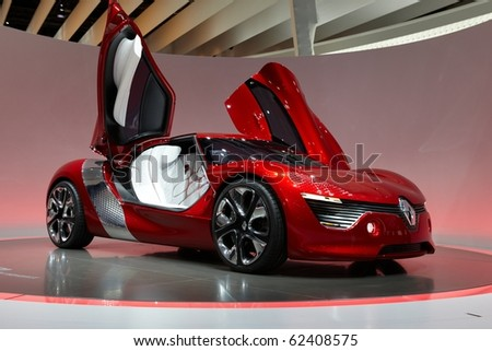 PARIS, FRANCE - SEPTEMBER 30: Paris Motor Show on September 30, 2010, showing Renault Dezir, front view in Paris. - stock photo