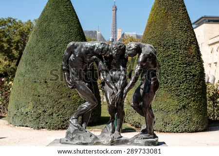 PARIS, FRANCE - SEPTEMBER 12, 2014: Paris - Museum Rodin. Sculpture of the Three Shades  inspired with Divine Comedy of Dante - stock photo