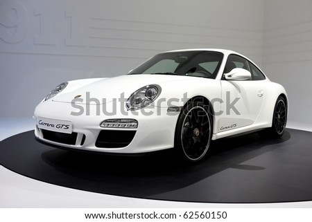 PARIS, FRANCE - SEPTEMBER 30:Porsche 911 Carrera GTS at Paris Motor Show on September 30, 2010 in Paris - stock photo