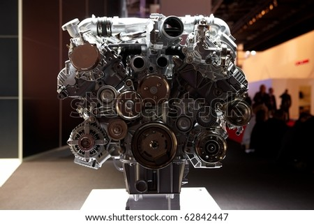 PARIS, FRANCE - SEPTEMBER 30: Range Rover Evoque engine at Paris Motor Show on September 30, 2010 in Paris - stock photo