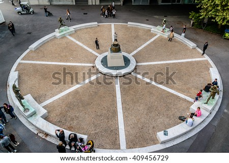 "PARIS, FRANCE - SEPTEMBER 20, 2015: Stade Roland Garros (""Roland Garros Stadium"") - tennis venue complex. It hosts French Open, also known as Roland Garros, a Grand Slam championship tournament. - stock photo"