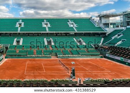 """PARIS, FRANCE - SEPTEMBER 20, 2015: Stade Roland Garros (""""Roland Garros Stadium"""") - tennis venue complex.  - stock photo"""