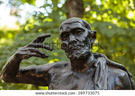 PARIS, FRANCE - SEPTEMBER 12, 2014: Statue in Rodin Museum in Paris,  is a museum that was opened in 1919, dedicated to the works of the French sculptor Auguste Rodin.