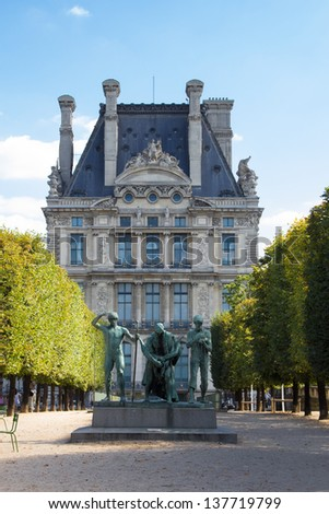 PARIS, FRANCE - SEPTEMBER 15: Statue in the Tuileries garden near Louvre museum in Paris on September 15, 2012. The Tuileries Garden is a public garden located near the Louvre Museum.
