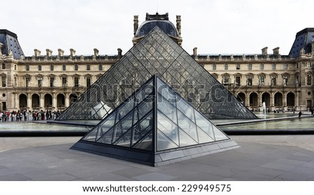 Paris, France, September 22, 2014: The famous Louvre museum in Paris, France - stock photo