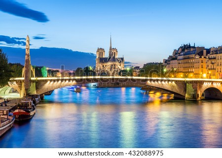Paris, France skyline - Cathedral of Notre Dame de Paris at sunset. Paris, France. Paris is the capital city of France  - stock photo
