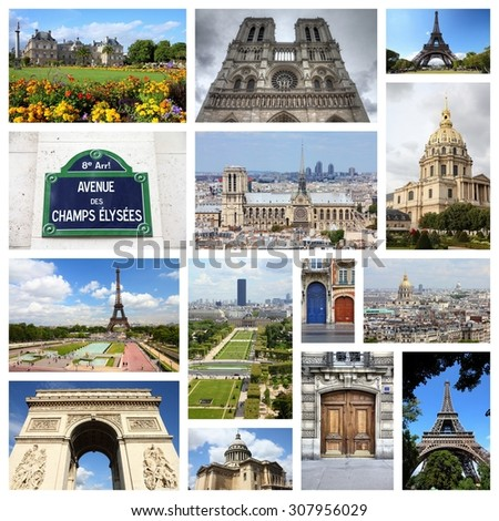 Paris, France - travel photo collage with Notre Dame, Luxembourg Palace and Eiffel Tower. - stock photo
