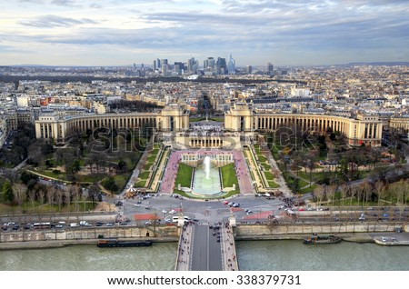 Paris, France: Trocadero and La Defense panorama view from Eiffel tower - stock photo