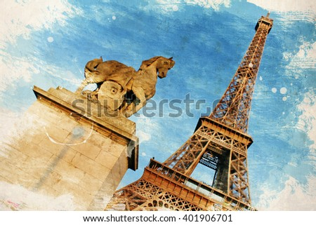 PARIS, FRANCE. Vintage illustration with Eiffel Tower (La Tour Eiffel) in Paris, France - stock photo