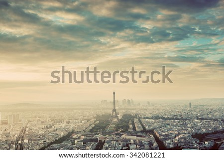 Paris, France vintage skyline, panorama. View on Eiffel Tower, Champ de Mars and La Defense  - stock photo