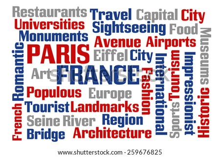 Paris France word cloud with white background